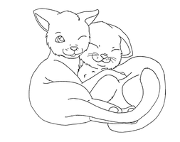 cat base: cuddle by Midnightflaze