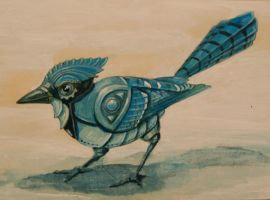 Robot Blue Jay by RachelQuinlan