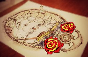Old school ship by tattoo-love-forever