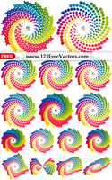 Colorful Rainbow Swirl Design Elements Vector Pack by 123freevectors