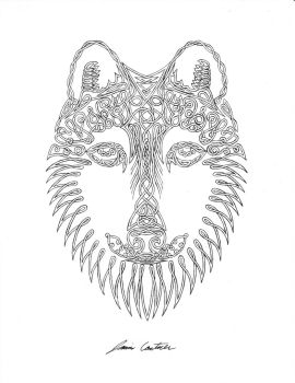 uncolored Wolf Face commission by TheCelticPoet