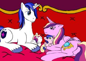 Shining Armor and Cadence Family by DeckBeMine