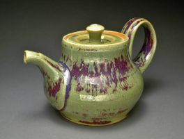Electric Fired Teapot with Red Streaks by YuishCeramics