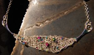 Brynja Necklace in Silver with Rainbow Beads by Freak7109