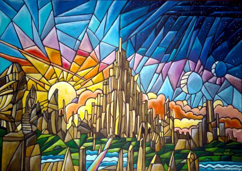 Asgard, stained glass effect :)) by WormholePaintings