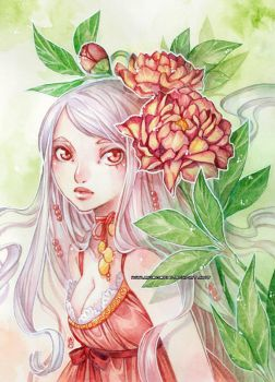Vanille and peonies -watercolors- by auroreblackcat