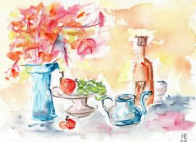 Colourful still life by Schrouty