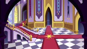 Canterlot Castle Entrance Hall Background by Zapheroc