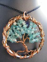 Apatite and copper tree by BacktoEarthCreations