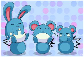 Marill family by pichu90