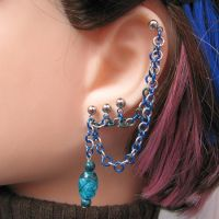 Blue and Green Earring by merigreenleaf