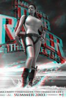 Anjelina Jolie Raider Poster red blue 3d by 3dpinup