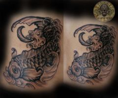 Koi New School style by 2Face-Tattoo