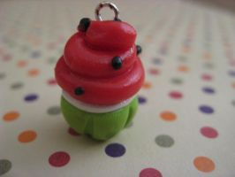Kawaii Watermelon Cupcake Charm by EmuGal