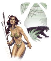 The Jungle Huntress - color by Timbone