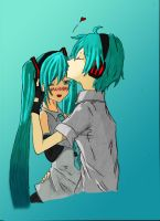 Mikuo and Miku color by 5irob-IX