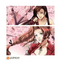 Aeris and Tifa by glance-reviver