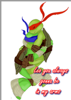 Raph loves Leo in his arms by Bblaze-MiKaSa2D