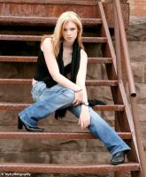 Kat on the stairs by w4b