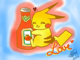 Pikachu's Love for Ketchup by oXSnowFlakezXo