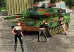 Leopard 2A6 and girls  (Three OC's) by otherdruid