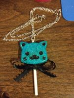 COMMISSION Turquoise Kitty Lollipop Necklace by MeeganUrufu