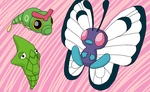 2012 Pokedex Project: 004 Caterpie Family by bagleopard