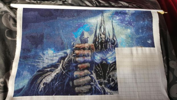 World of Warcraft: Lich King Cross Stitch W.I.P 8 by prophet1991