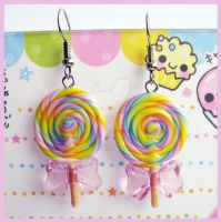 Lollipop Earrings - Pink Bow 2 by cherryboop