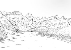 Mountainous landscape sketch by Kursura