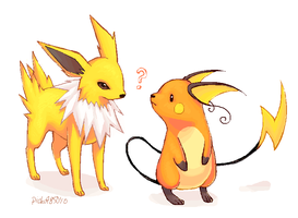 Jolteon and Raichu. by pichu4850