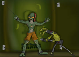 Oddworld: Abe and a Slig by muppetmaster
