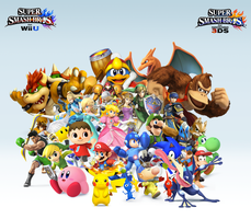 Super Smash Bros. Wii U/3DS Group Wallpaper v10 by CrossoverGamer