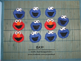 Elmo and Cookie Monster badges by nezstorm