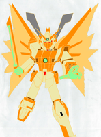 Neo Shining Gundam in hyper mode (colour outline) by GAMEMASTER-THX