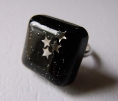 Black Night Sky Ring by 2littleKisses