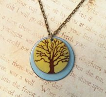 Tree of Life Double Enameled Necklace Yellow Blue by FusedElegance