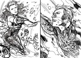 Mera/ Aquaman sketch by geraldohsborges