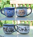 Cat mugs by Pon-Ta