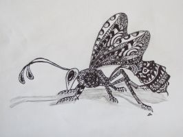 Zentangle wasp side view by luzilla