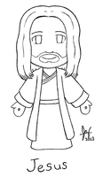 Christ Jesus - Chibi Line Art by Jazzy-C-Oaks