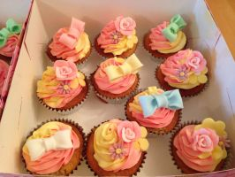 Spring Flowers Cupcakes by Charley-Blue