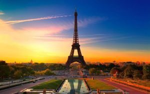 Sunset Eiffel Tower Paris In France by SeaViolet