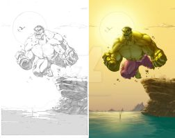 Hulk with lineart by GarryHenderson