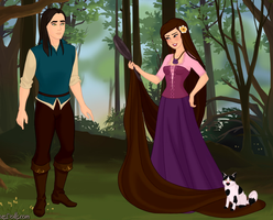 Saby and Orochimaru as Rapunzel and Flyin by pumba87