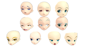 [MMD] Animasa Head Pack by OmaSparky