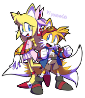 Zoey and Tails cosplaying by Drawloverlala