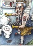 Aritst's impression of The Queen cleaning a toilet by keiross