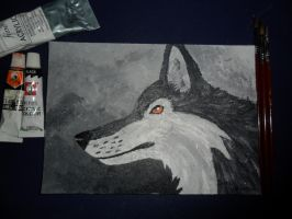 Acrylic wolf head by saraninja