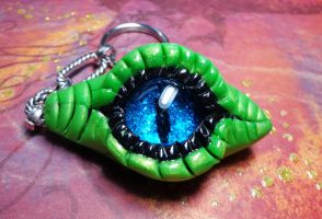 Green and Black Dragon Eye Keychain by RaPVVNzel